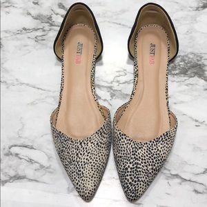 Just Fab Leopard D'orsay Flats Size 11